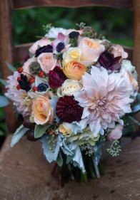 Oreonta house woodstock wedding bridal bouquet with garden rose dahlia scabiosa seed pods, eucaliptus and wildflowers rosehip social