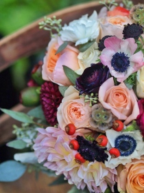 Oreonta house woodstock wedding bridal bouquet with garden rose dahlia scabiosa seed pods, eucaliptus and wildflowers