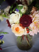 Oreonta house woodstock wedding mason jar centerpiece with garden rose dahlia and wildflowers