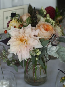 Oreonta house woodstock wedding vintage mason ball jar centerpiece with garden rose dahlia dusty miller scabiosa grey greens and wildflowers rosehip social rosehip floral 2