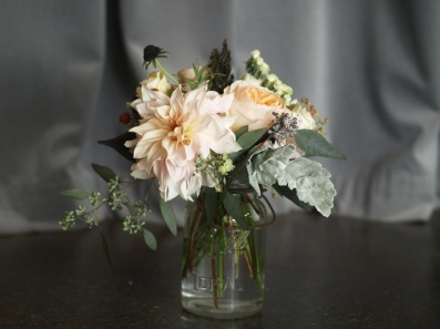 Oreonta house woodstock wedding vintage mason ball jar centerpiece with garden rose dahlia dusty miller scabiosa grey greens and wildflowers rosehip social rosehip floral