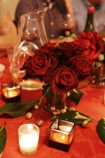 Dark red roses for Christmas eve dinner