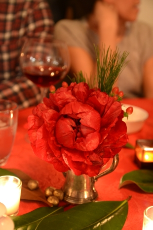 Red peony arrangement for Christmas eve dinner