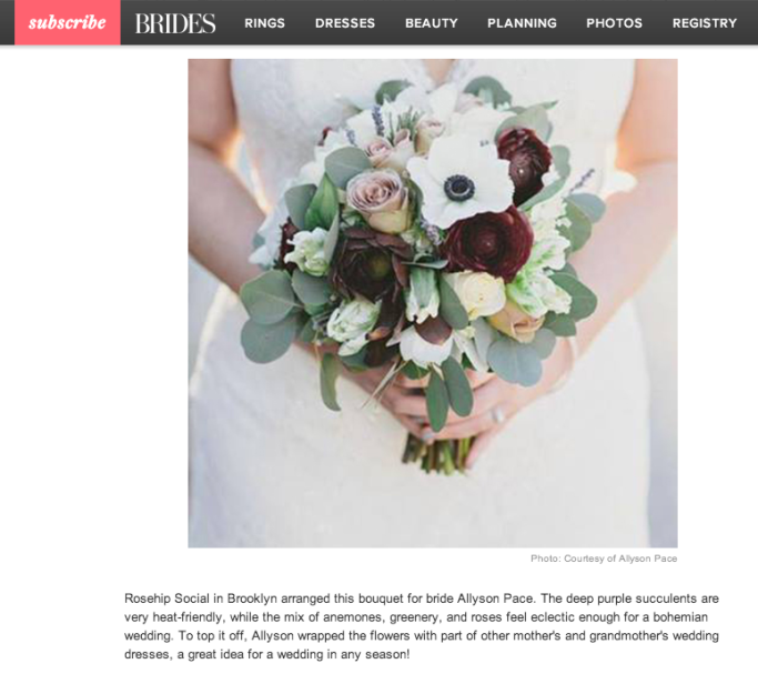 Rosehip featured on BRIDES.com